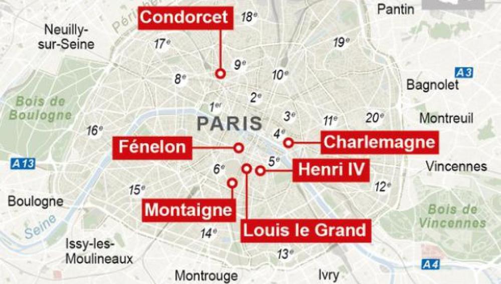 Gráfico de las escuelas amenazadas en París