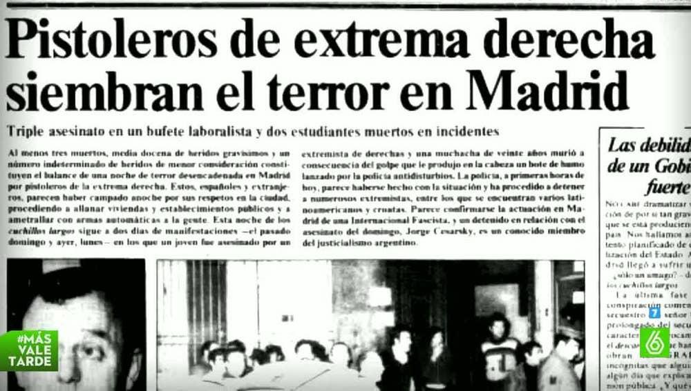 Recorte sobre la matanza de Atocha