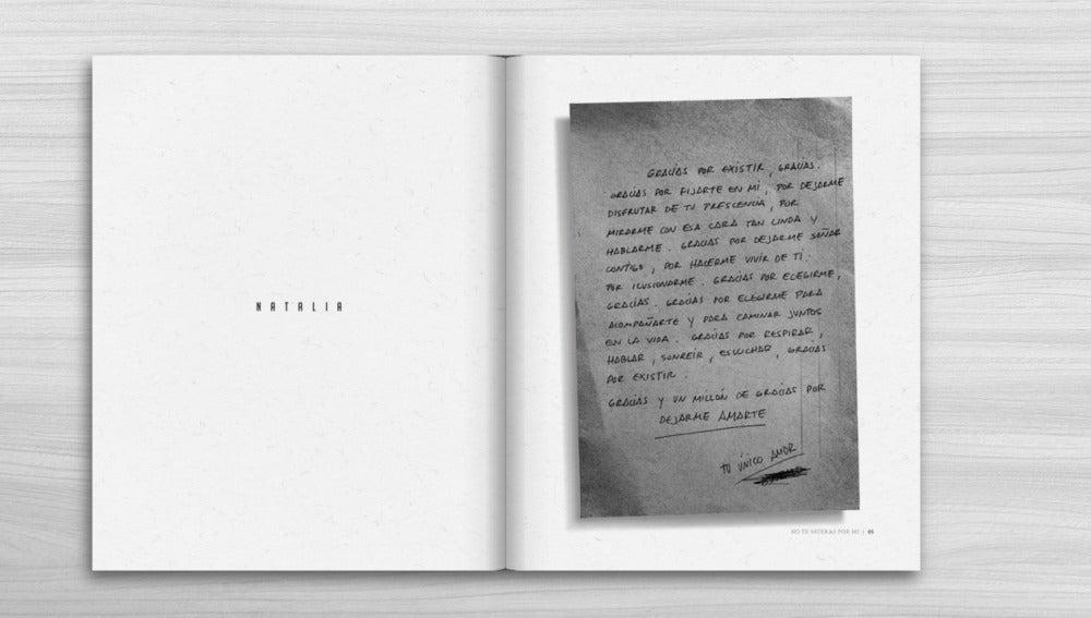 Página del libro 'no te mueras por mí'