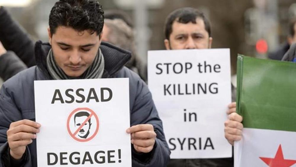 Protestas ante la ONU contra Al Assad