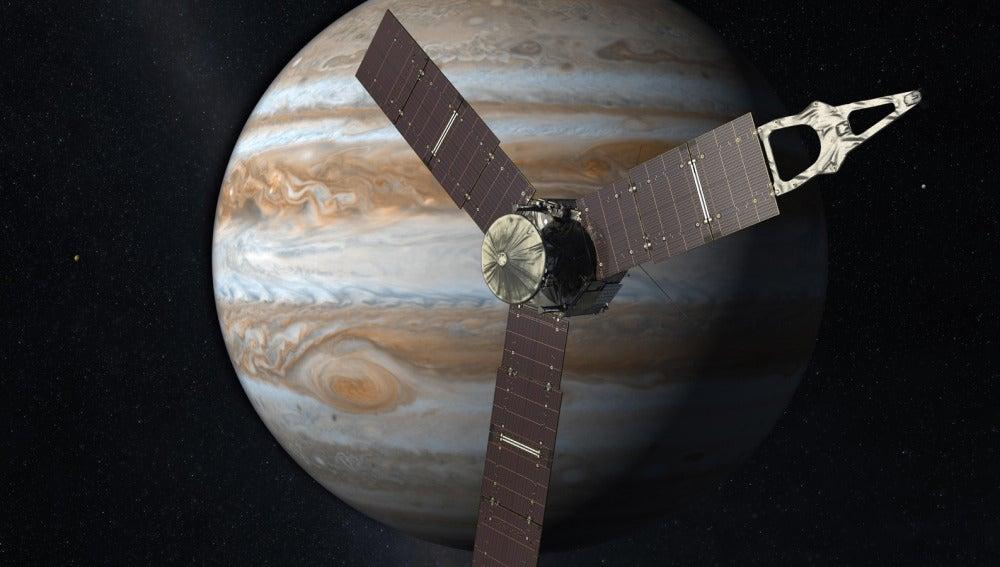 Representación artística de la sonda Juno sobre el planeta Júpiter y algunos de sus satélites.