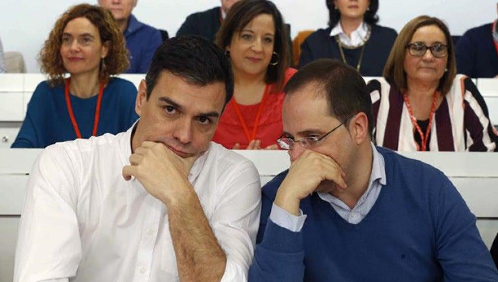 Pedro Sánchez y César Luena en el Comité Federal