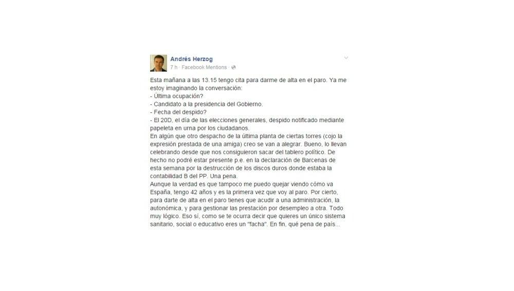 Andrés Herzog anuncia que se apunta al paro