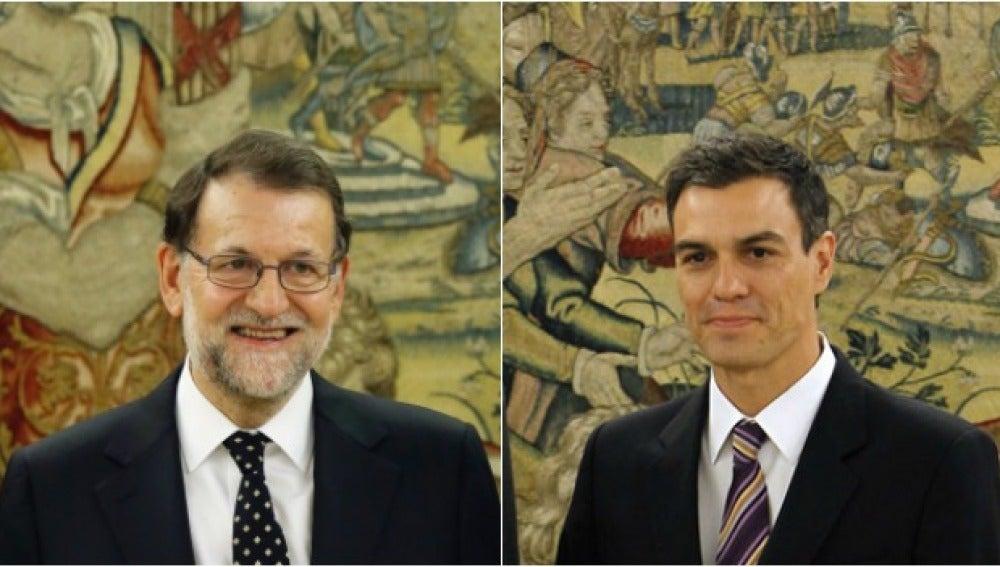Mariano Rajoy y Pedro Sánchez en la Zarzuela