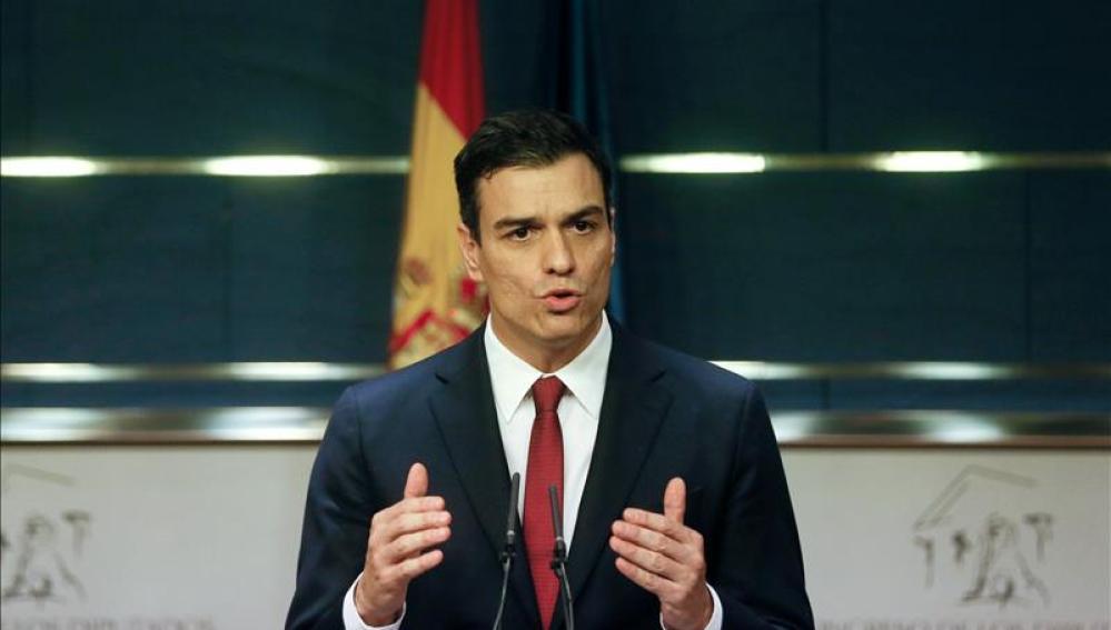 Pedro Sánchez compareciendo en el Congreso