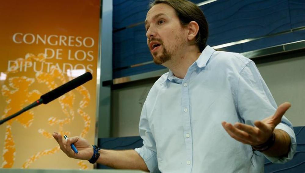 Pablo Iglesias hablando en el Congreso de los Diputados