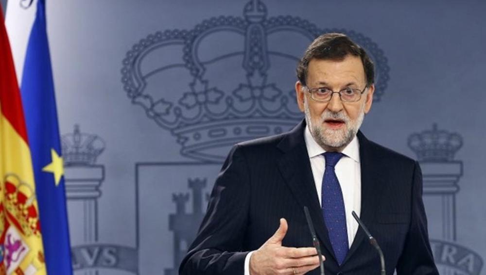 Mariano Rajoy habla ante los medios en la Moncloa