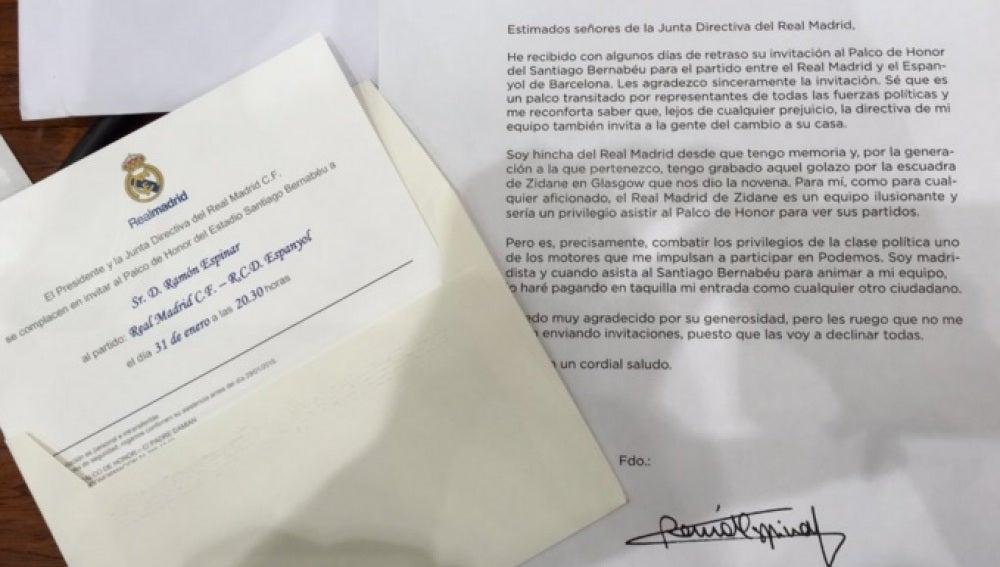 Respuesta de Ramón Espinar al Real Madrid