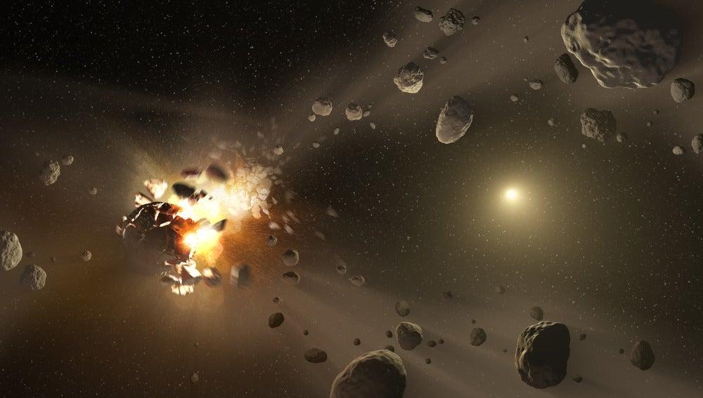 Recreación de un campo de asteroides