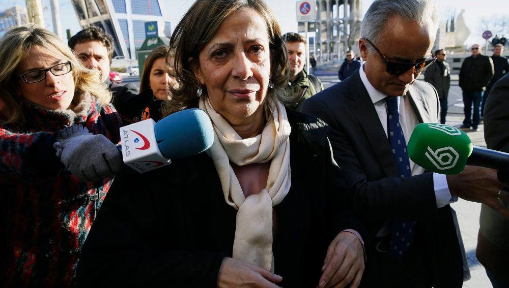 La tesorera del PP, Carmen Navarro, llegando a los Juzgados de Plaza de Castilla