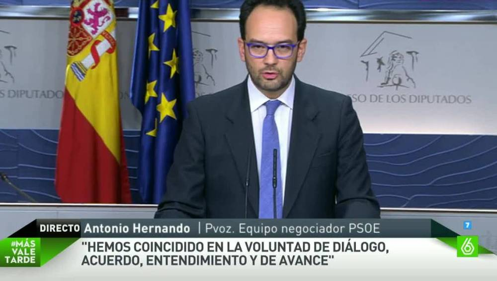 Antonio Hernando, portavoz del equipo negociador del PSOE