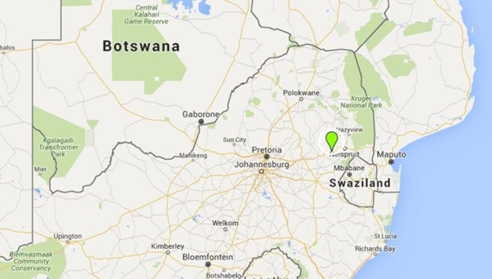 Lugar del derrumbe de la mina de oro en Sudáfrica