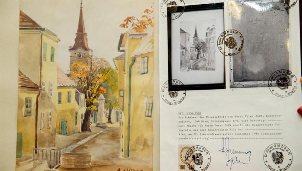 'Stadtansicht Gumpoldskirchen', una de las acuarelas atribuidas a Adolf Hitler