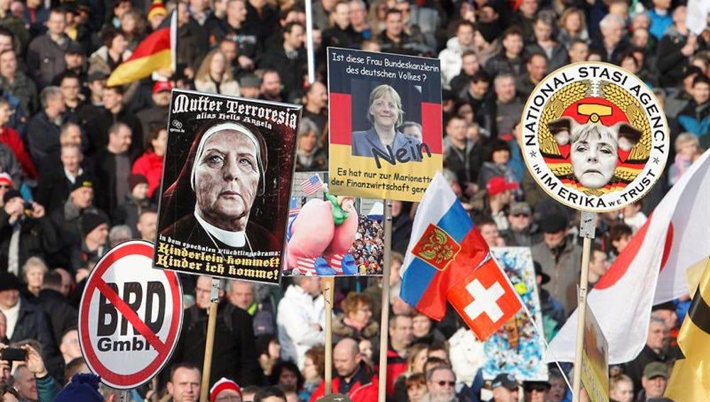 Manifestación de Pegida en Alemania contra la islamización de Occidente