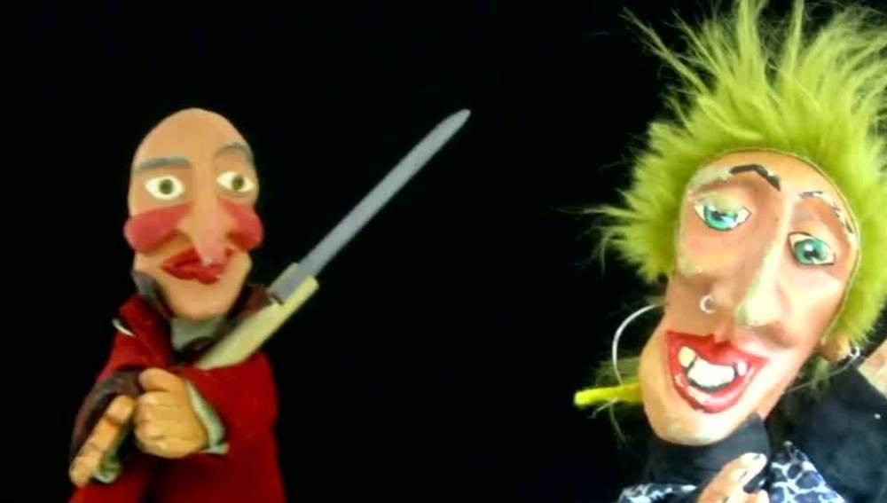 Imagen de dos de los títeres usados durante el polémico espectáculo infantil