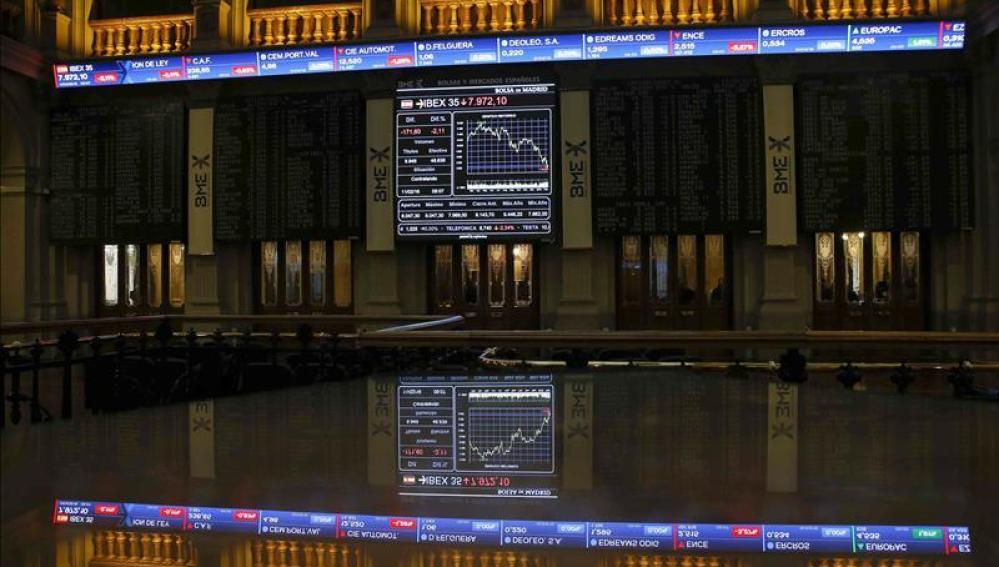 Imagen de la Bolsa de Madrid al cierre de sesión