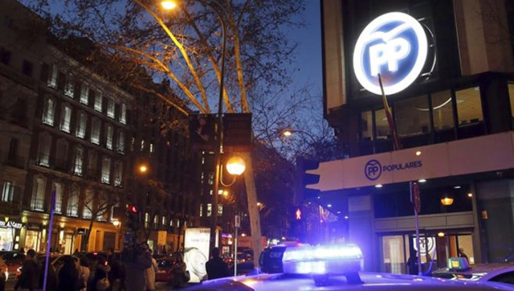 Registro de la sede del PP de Madrid