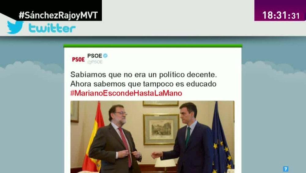 El PSOE responde a Rajoy en Twitter