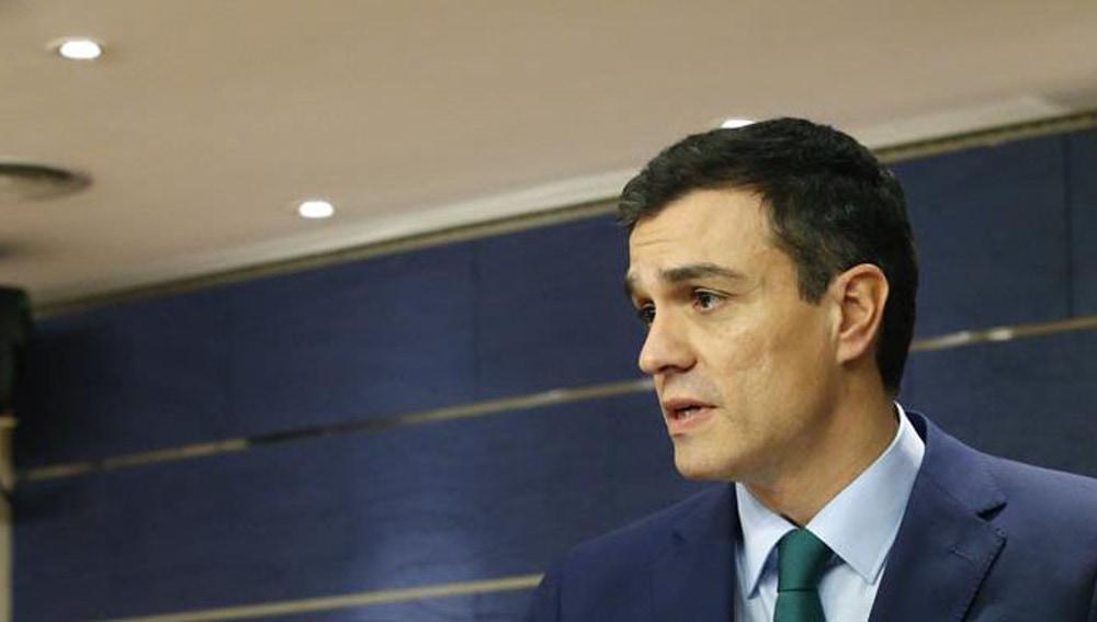 Pedro Sánchez, durante la rueda de prensa en el Congreso