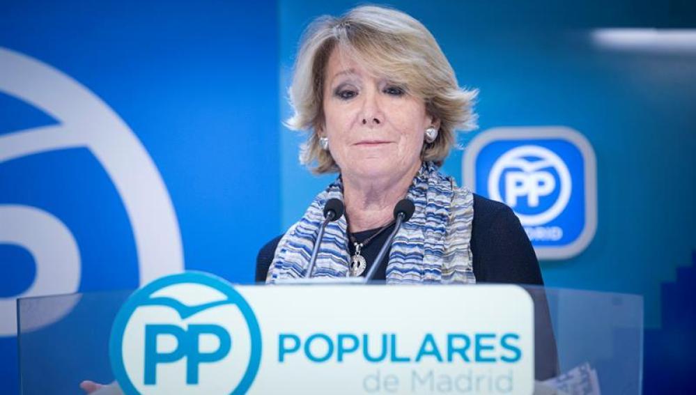 Esperanza Aguirre comparece ante los medios para anunciar su dimisión
