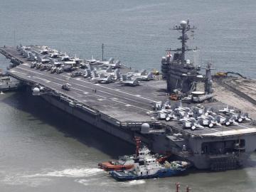Vista de un portaaviones estadounidense