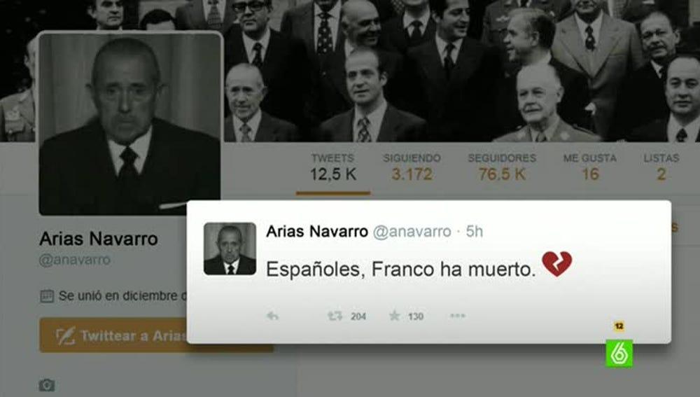 Así habría anunciado Arias Navarro la muerte de Franco en Twitter