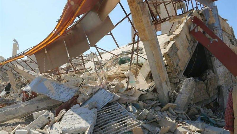 Los escombros de un hospital de MSF en Siria