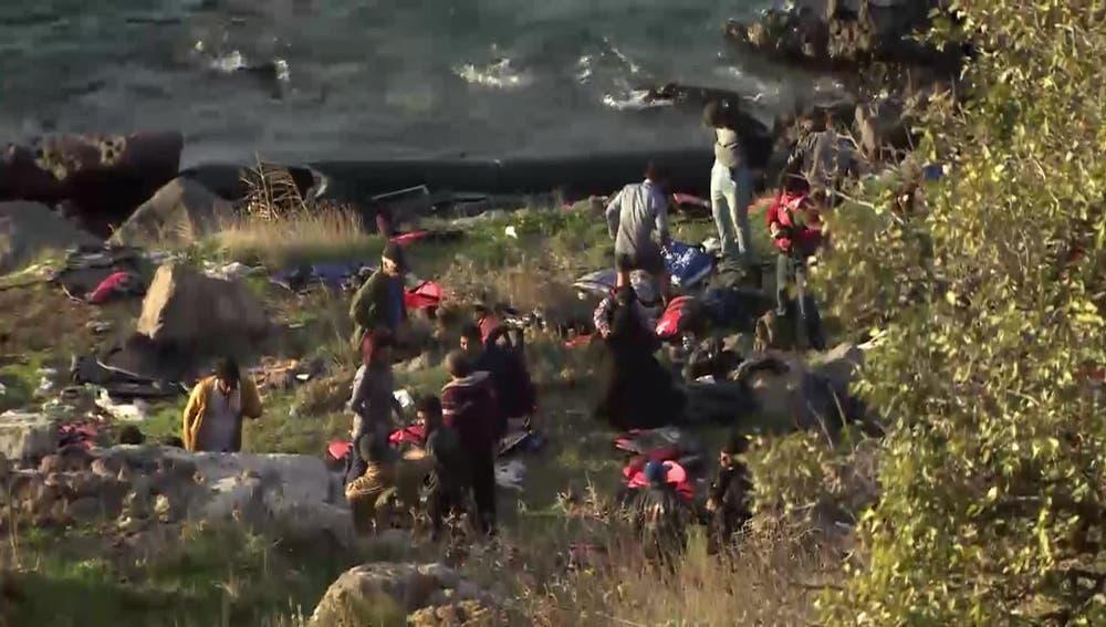 Una lancha ha llegado a la costa de Lesbos