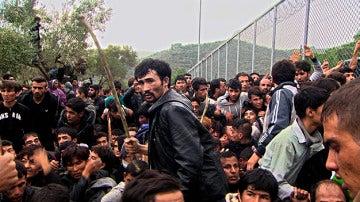 Refugiados en una frontera europea