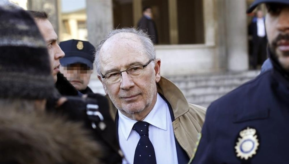 El exvicepresidente del Gobierno, Rodrigo Rato, a su salida del juzgado