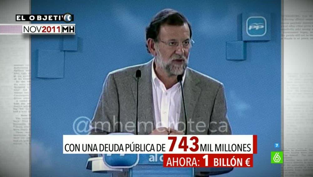 Mariano Rajoy, en un mitin en 2011, sobre la deuda pública
