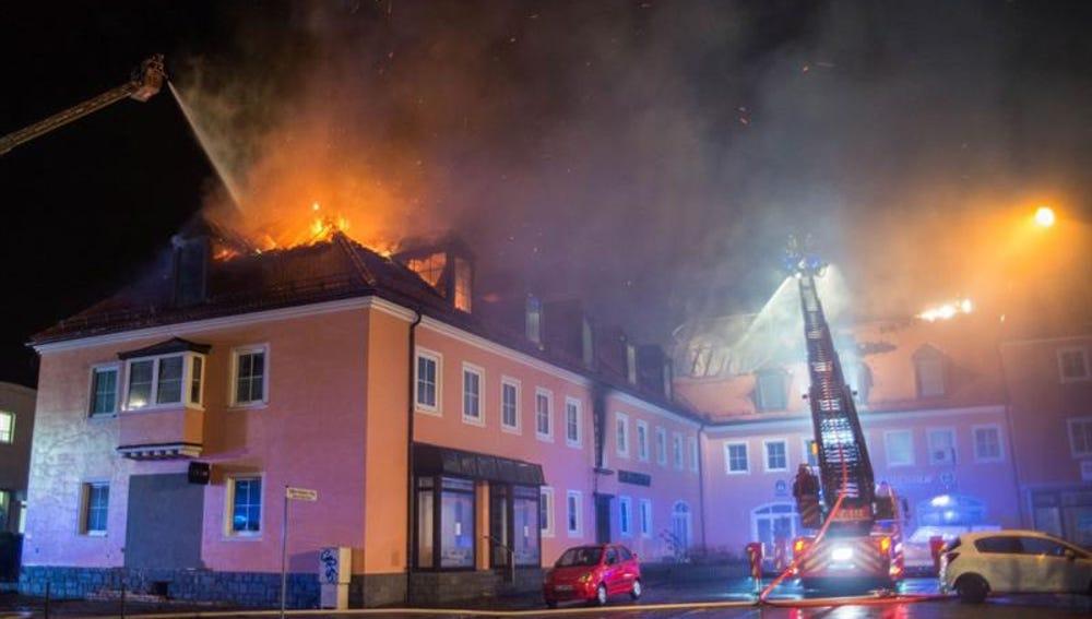 Hotel donde los refugiados se alojaban en una ciudad alemana