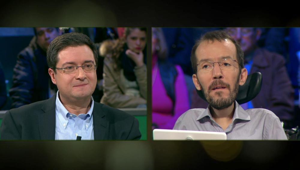 Óscar López, de PSOE, y Pablo Echenique, de Podemos, en laSexta Noche