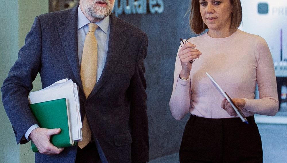 Mariano Rajoy y María Dolores de Cospedal, en la sede del PP