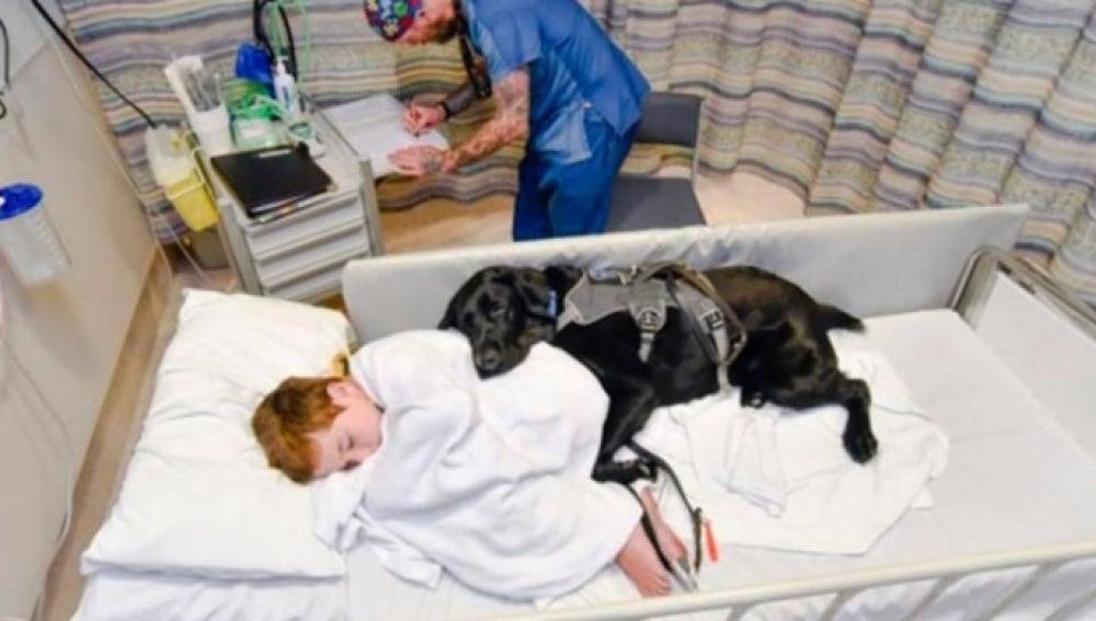 James Isaac duerme en el hospital junto a su perro Mahe