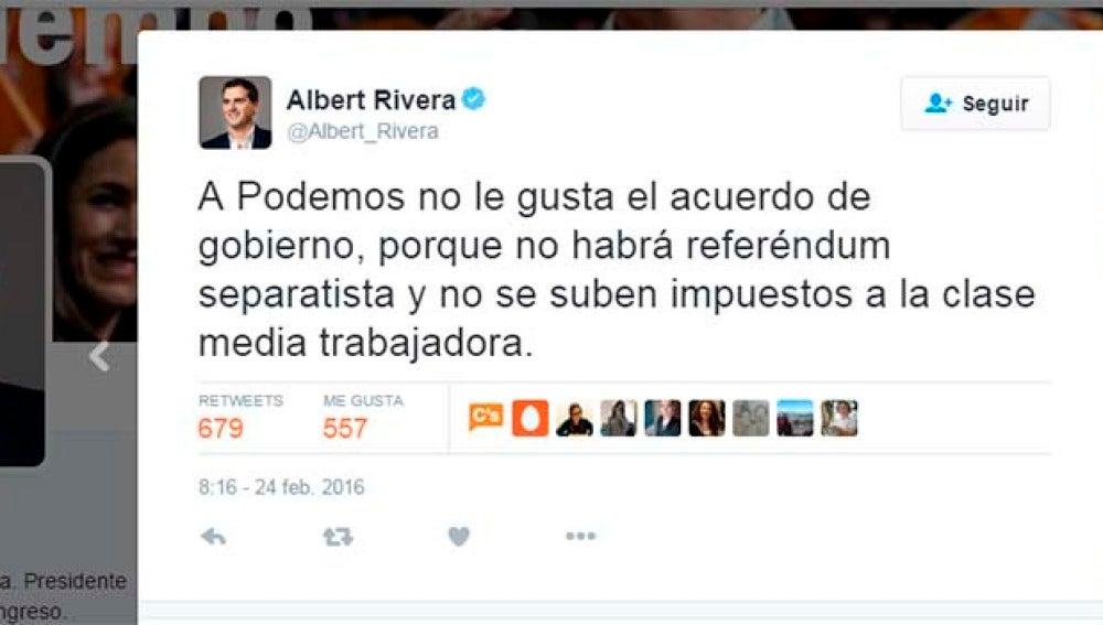 Albert Rivera responde a Podemos tras el acuerdo firmado con el PSOE