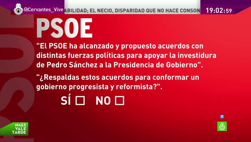 La consulta del PSOE a sus militantes