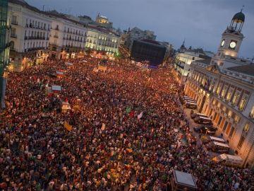 Imagen de la Puerta del Sol durante el movimiento 15M