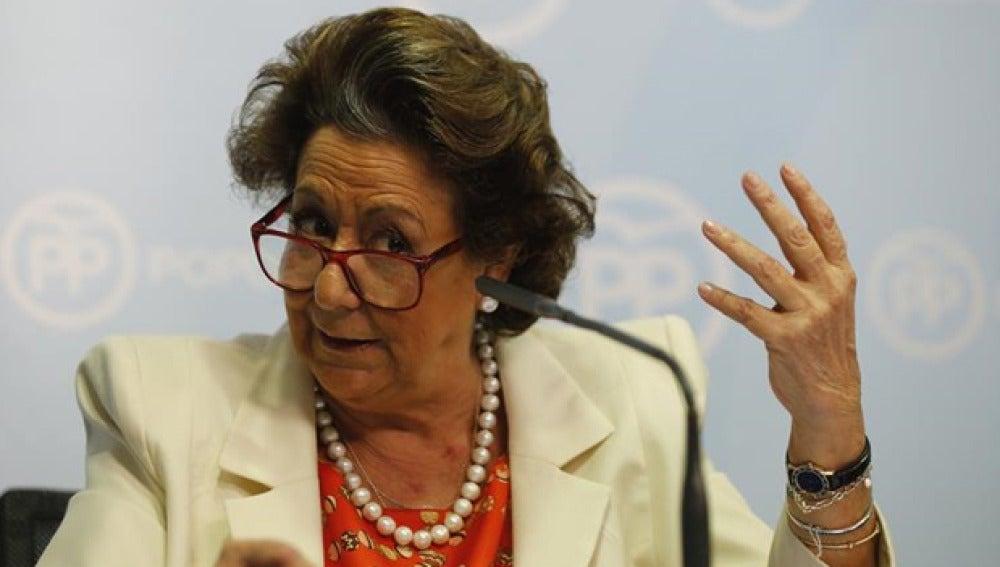 Rita Barberá en su rueda de prensa