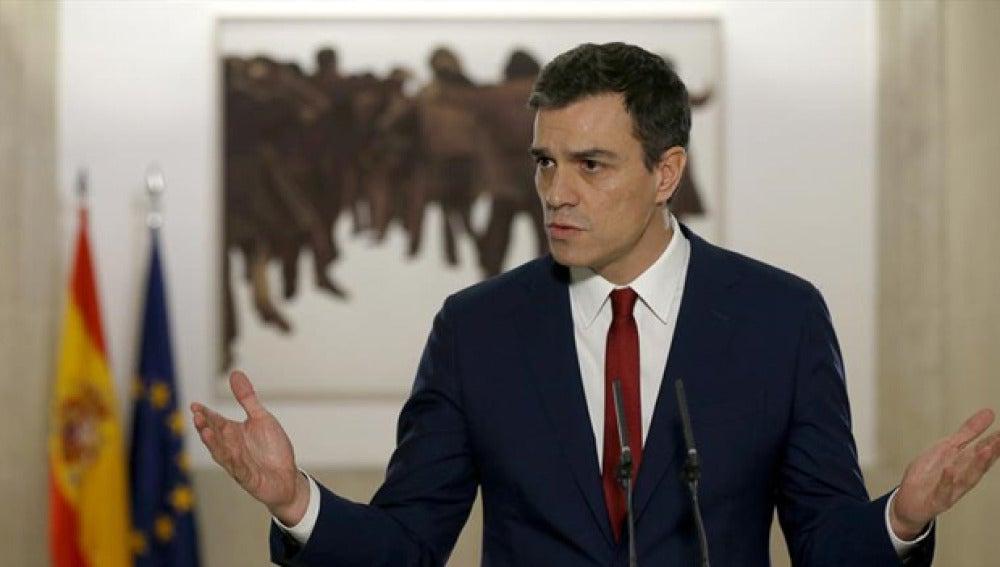 Pedro Sánchez ante los medios en una imagen de archivo