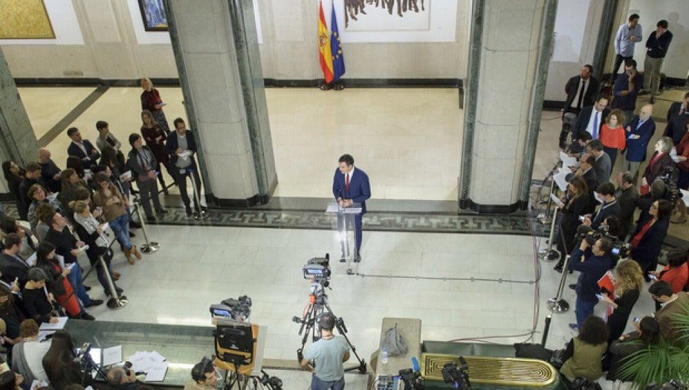 Pedro Sánchez explicando el acuerdo con Ciudadanos