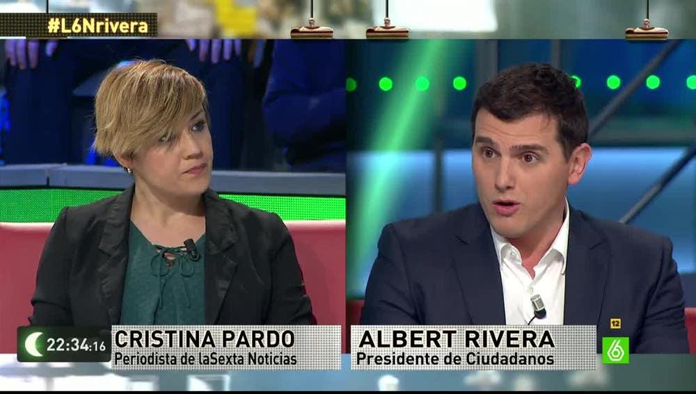 Cristina Pardo y Albert Rivera, en laSexta Noche