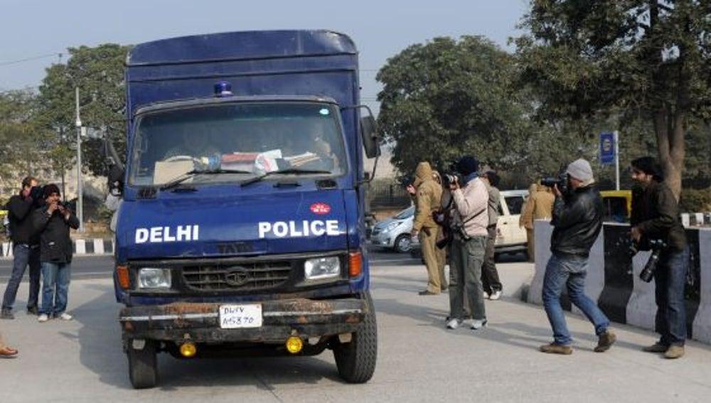 Un coche de la policía en la India