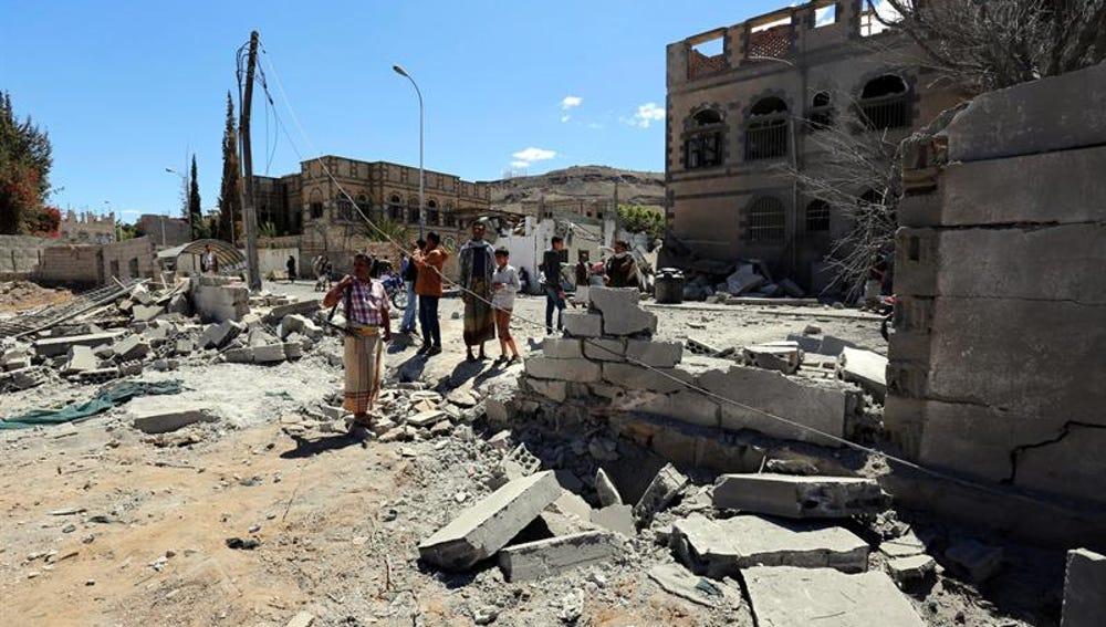 Imagen del mercado tras los bombardeos