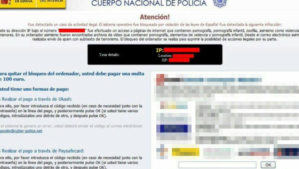 Imagen del falso mensaje que aparecía en los dispositivos