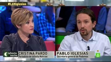 Cristina Pardo y Pablo Iglesias, en laSexta Noche