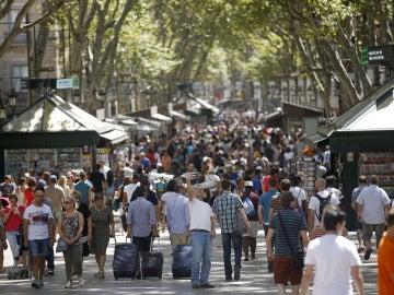 Panorámica de Las Ramblas de Barcelona