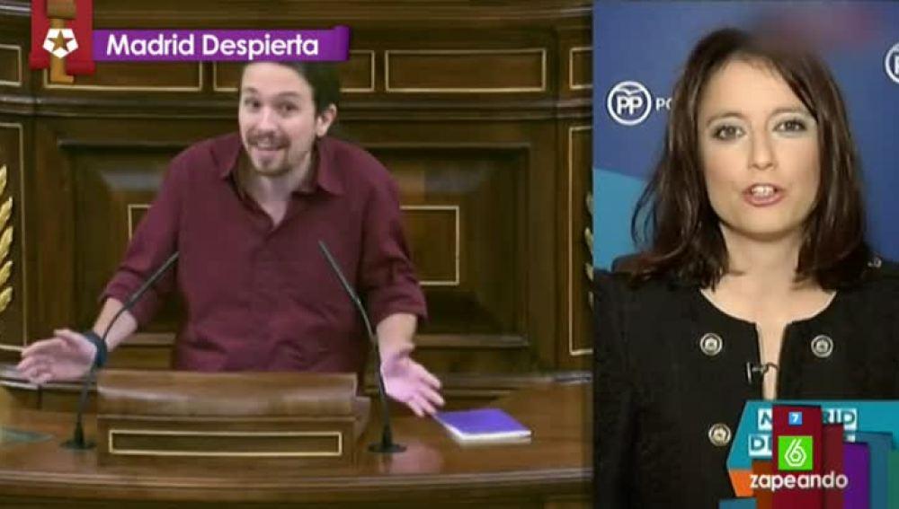 Andrea Levy, molesta con que Pablo Iglesias llevara al Congreso la broma de El Intermedio
