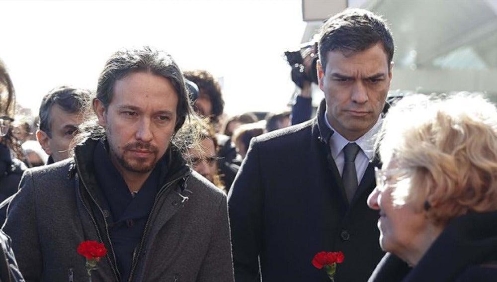 Pablo Iglesias y Pedro Sánchez en los actos de homenaje del 11M