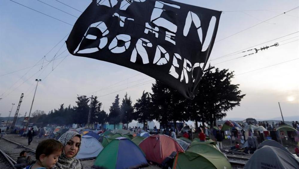 Campamento de refugiados en Indomeni